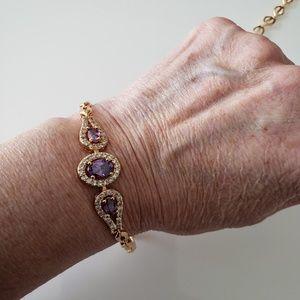 VINTAGE ☆ Gold & Amethyst Stone Bracelet, PRETTY!